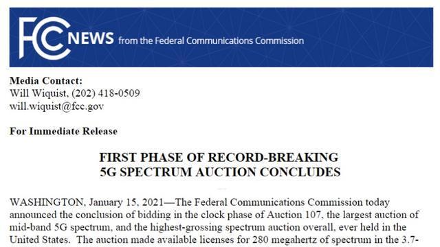 美国中频段5G频谱拍卖收入已超800亿美元