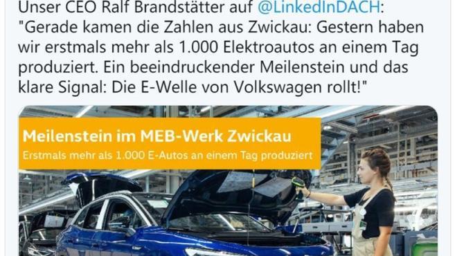 大众茨维考工厂可日产上千台电动车 年产能将达33万台