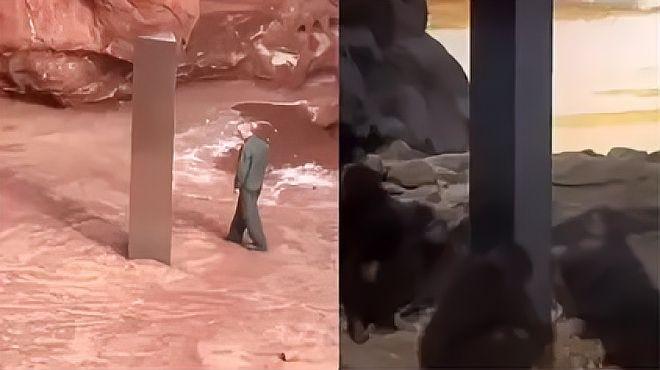美国荒漠出现神秘金属巨石