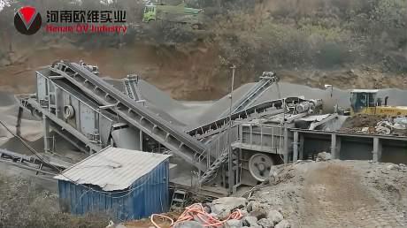 欧维实业-河南登封时产150吨箱式移动破碎站+1860振动筛分移动站