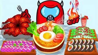 趣味太空狼美食动画,小红人挑战火辣海鲜大餐,还有可口饮料