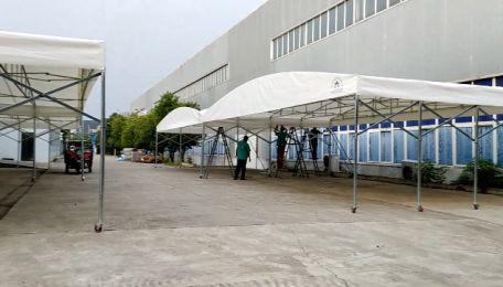 信阳市工业园某大型电子厂定制仓储推拉篷