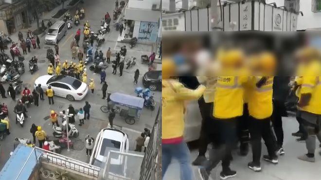 奔驰车主骂外卖员命贱被十几个外卖小哥群殴?场面混乱警方回应了