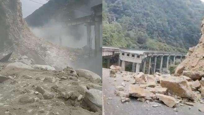 雅西高速一桥梁因山体垮塌断裂